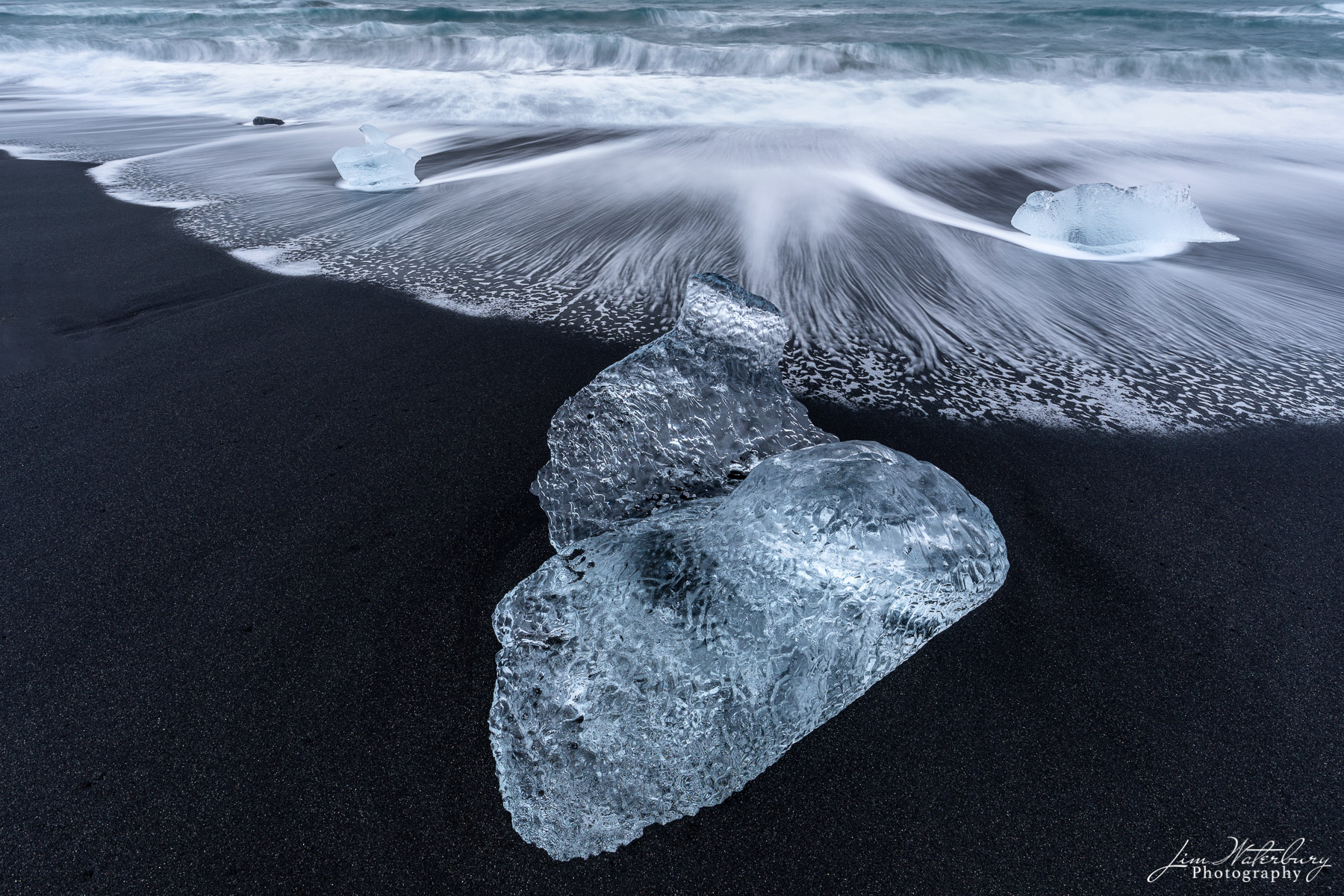 surf, foam, black sand, Fellsfjara Beach, Breidamerkursandur, Diamond Beach, Jokulsarlon, glacial lagoon, Iceland, photo