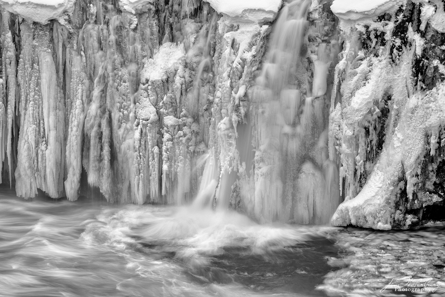 black & white, Godafoss, waterfall, frozen, ice, Iceland, photo