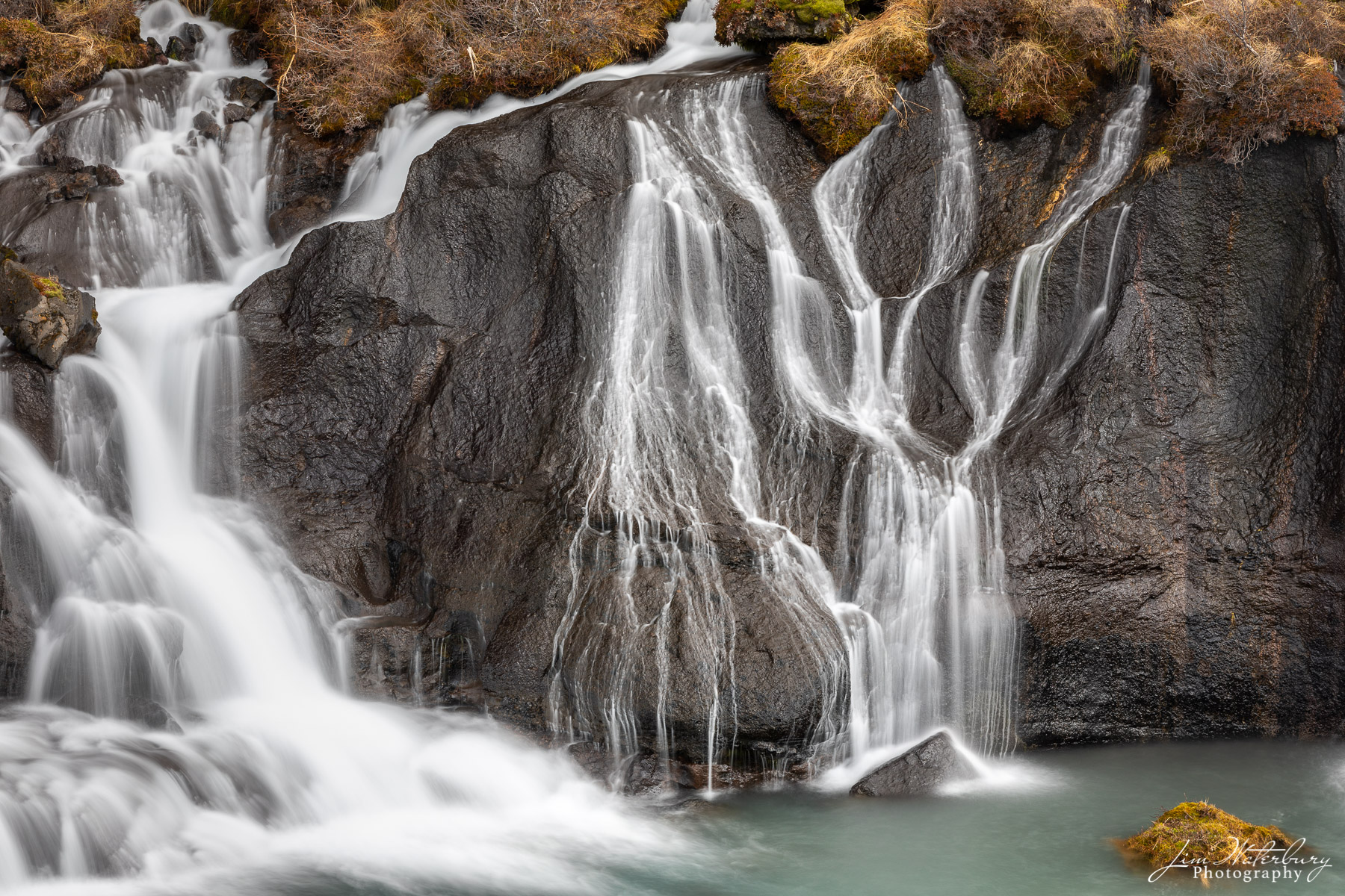 Hraunfossar, waterfall, water, ribbons, graceful, Iceland, winter, photo