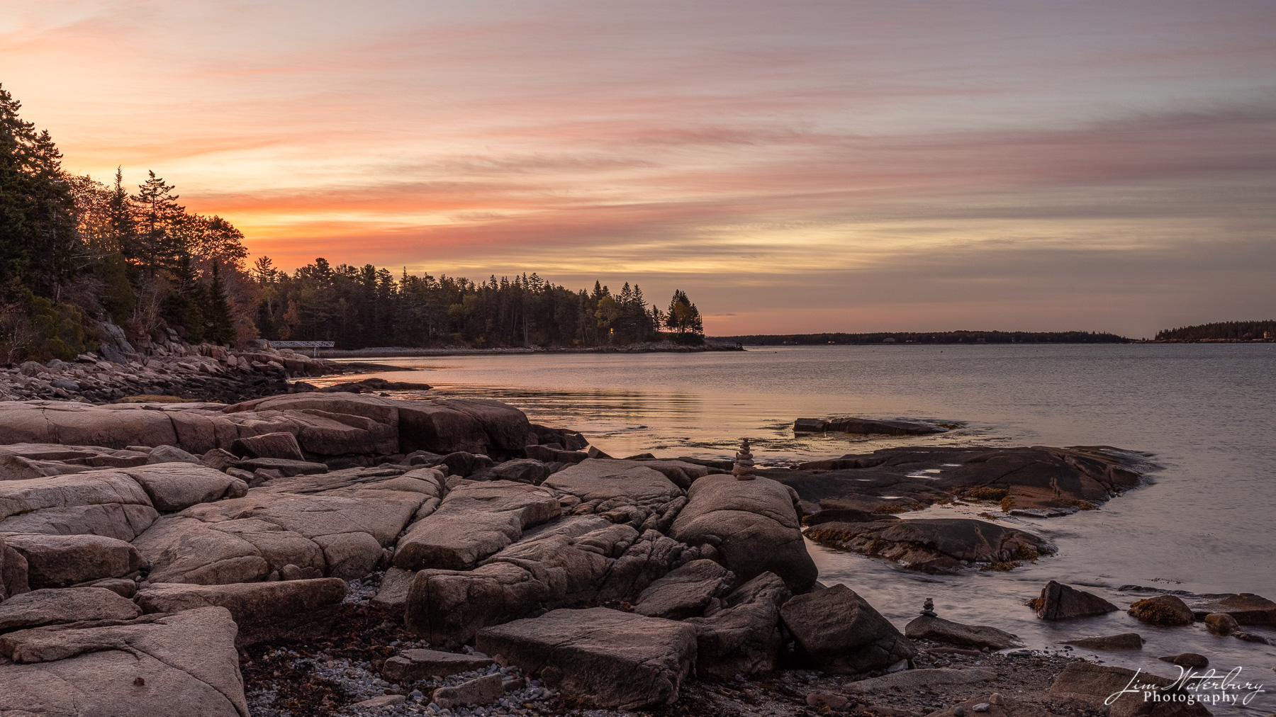 An October sunrise over Bracy Cove, photographed from the Little Long Pond trailhead.