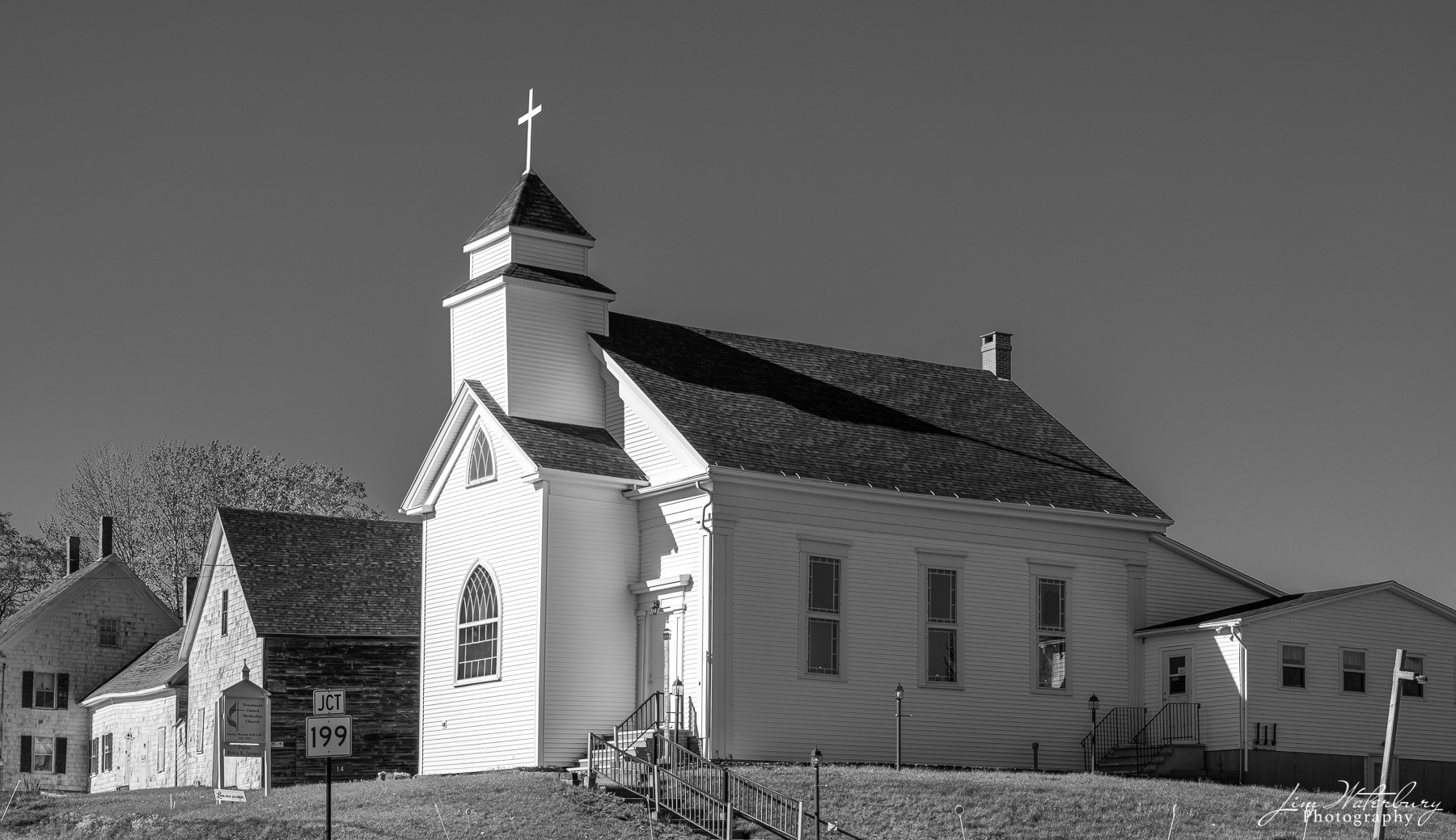 Penobscot United Methodist Church, in black and white.