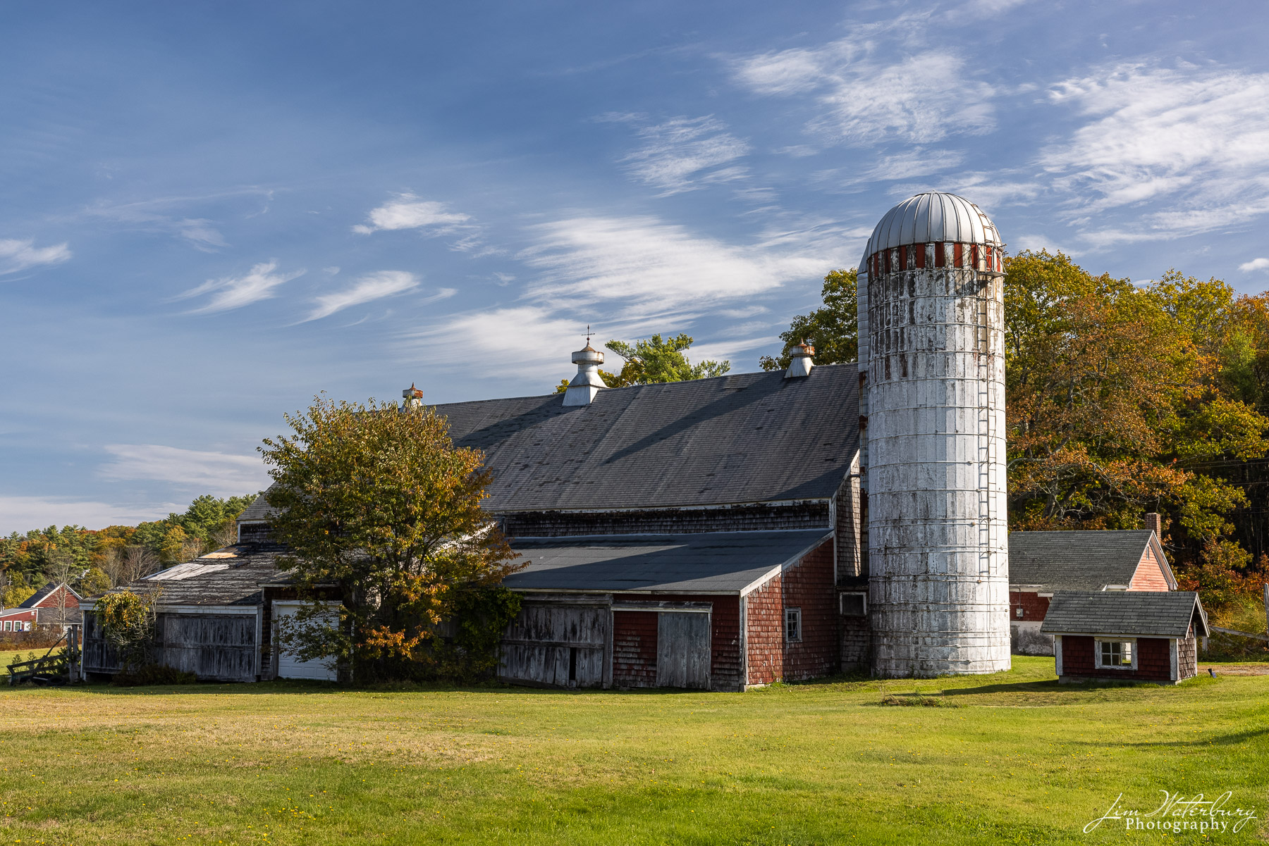 Classic Maine barn and silo on the country roads outside of Cushing, Maine