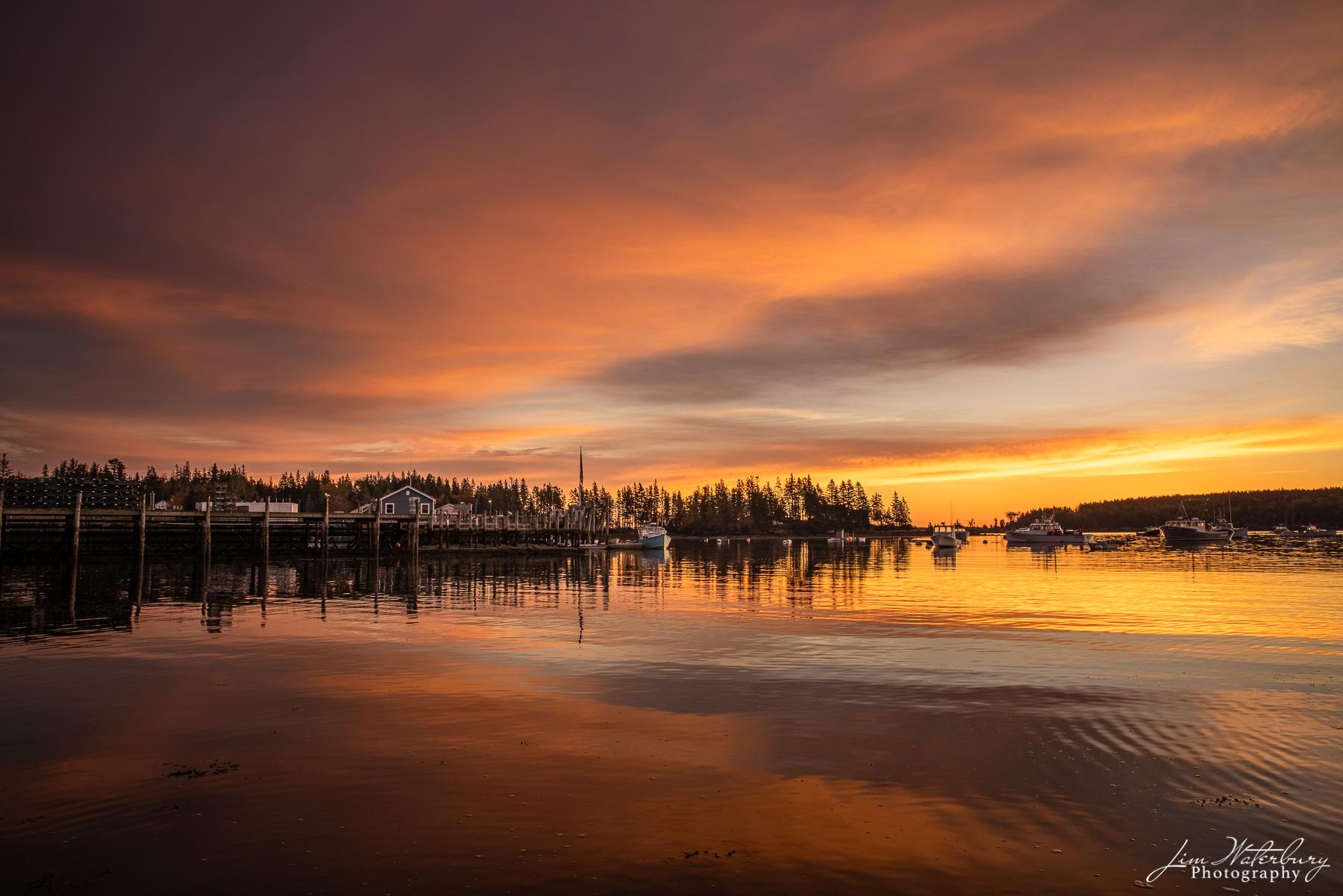 Sunrise over the small harbor of Owl's Head, Maine.