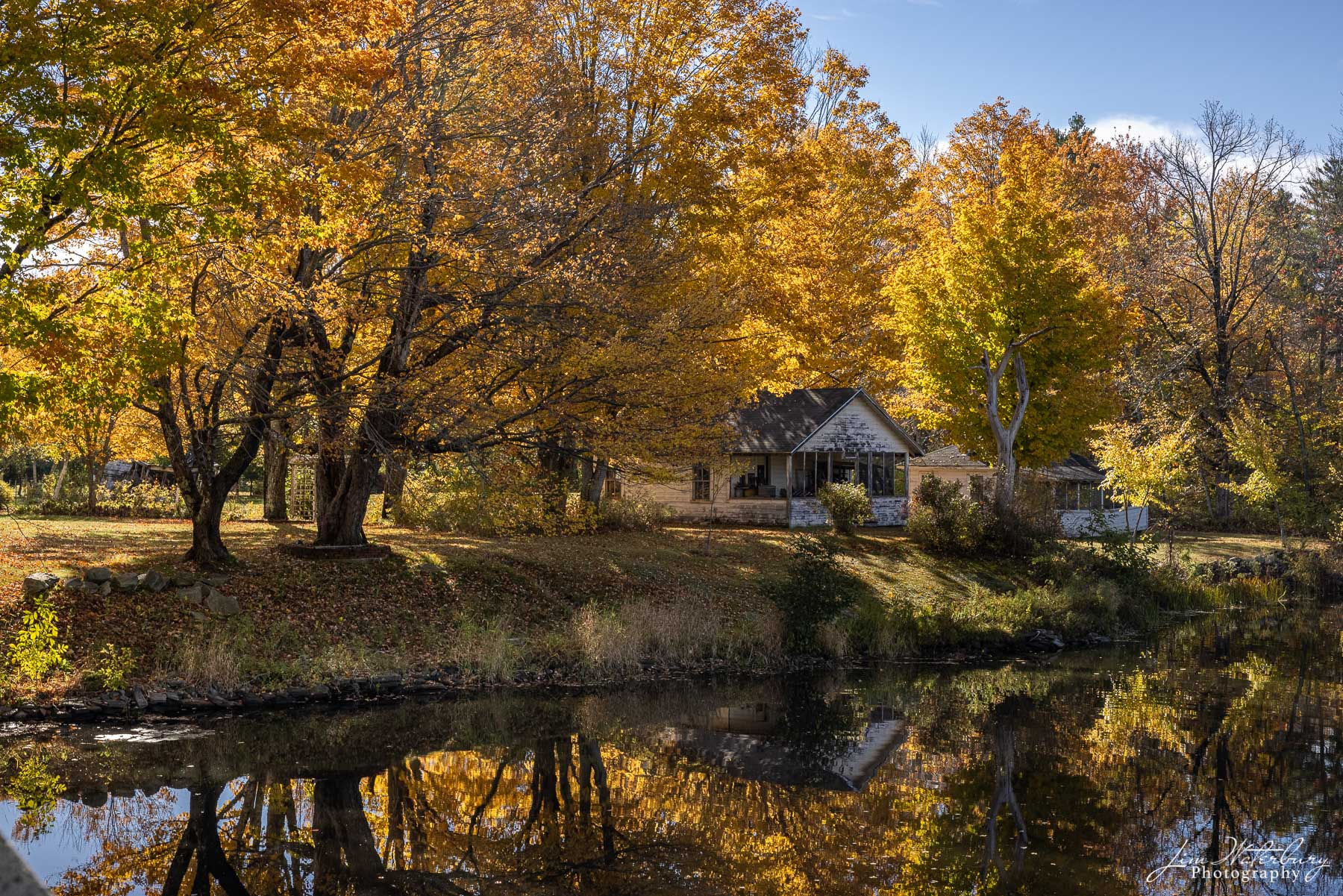 Small summer cottage on the shores of Damariscotta Lake, Maine, is surrounded by trees showing off brilliant fall colors.