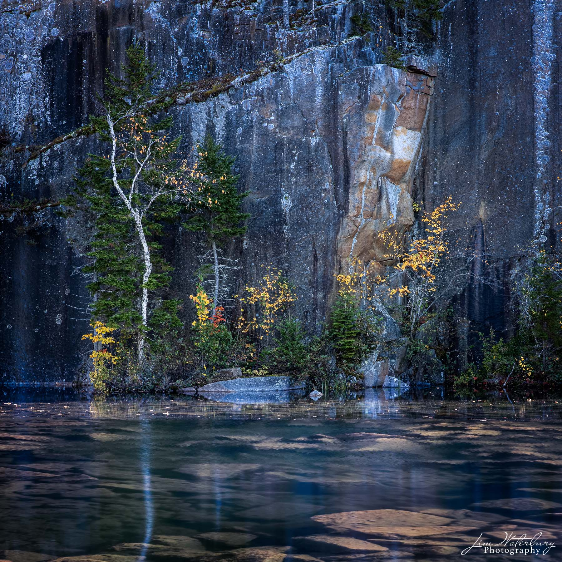 The last of the yellow leaves of fall speckle the rock walls of Long Cove Quarry, Maine