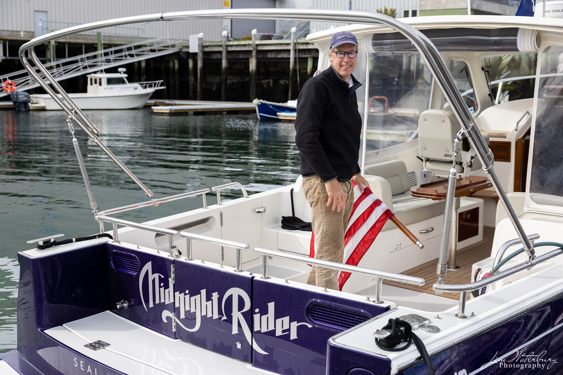 Captain Willis aboard Midnight Rider after delivery to Rockland, Maine