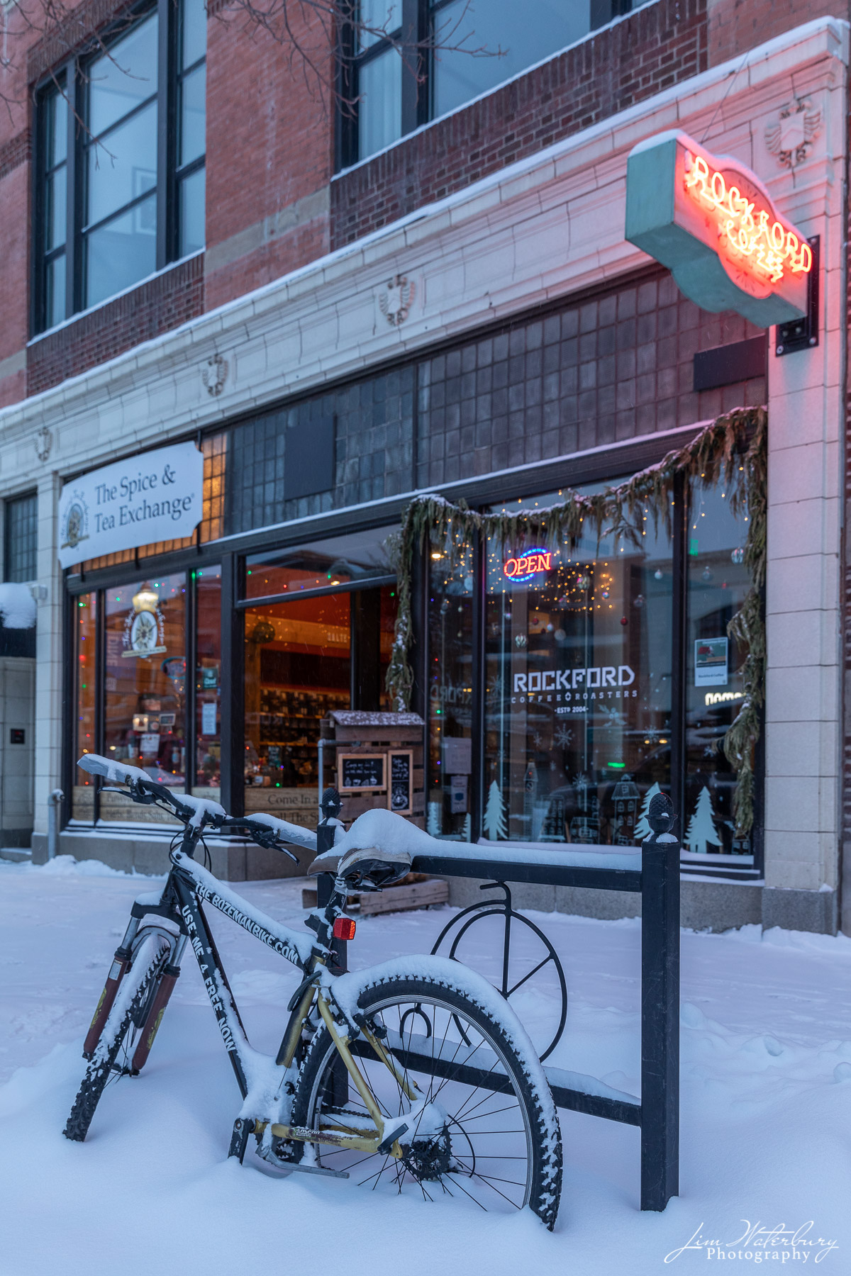 Early morning outside the Rockford Coffee shop, after an overnight snowfall in Bozeman.