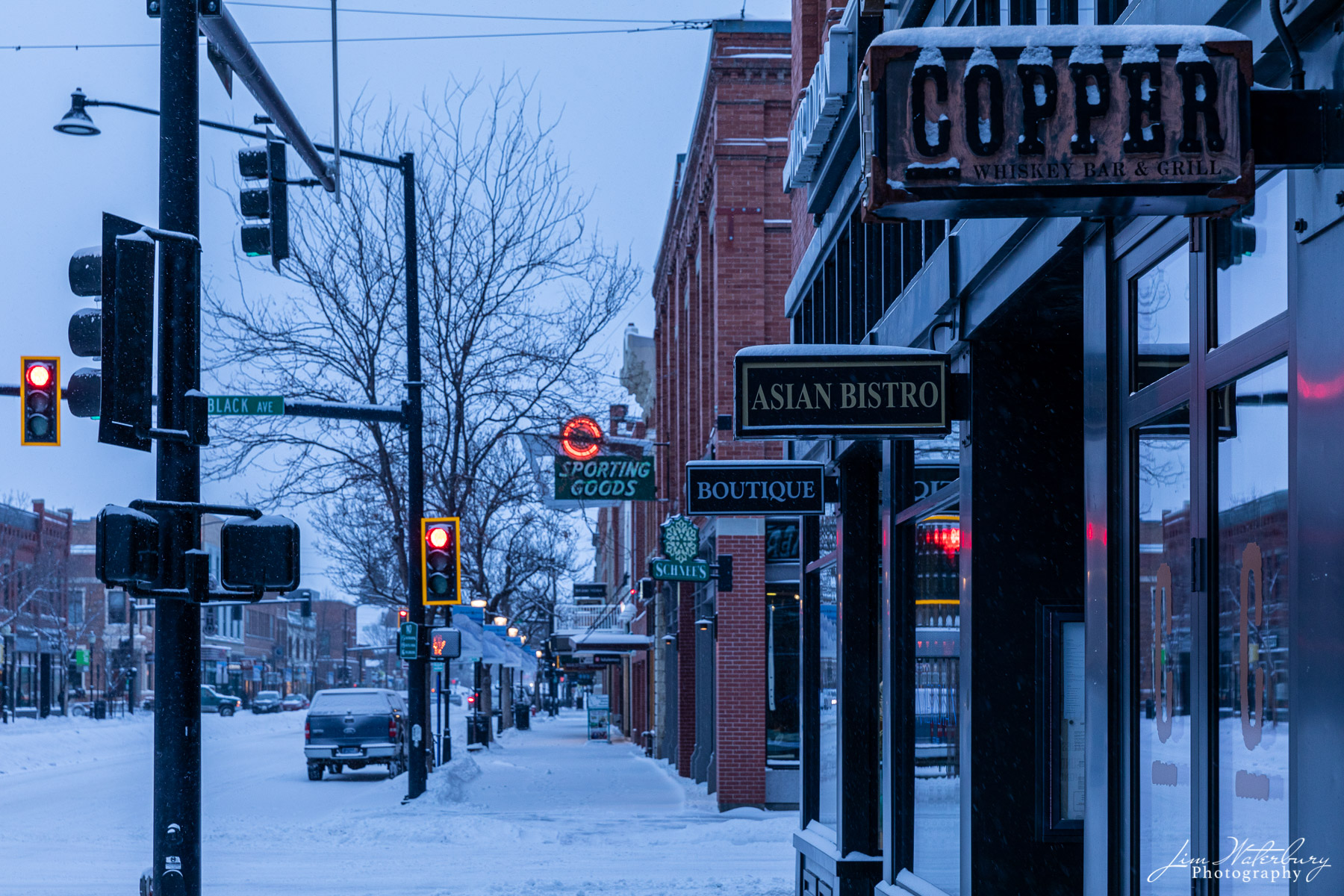 Early morning, downtown Bozeman, MT, after a snowstorm.