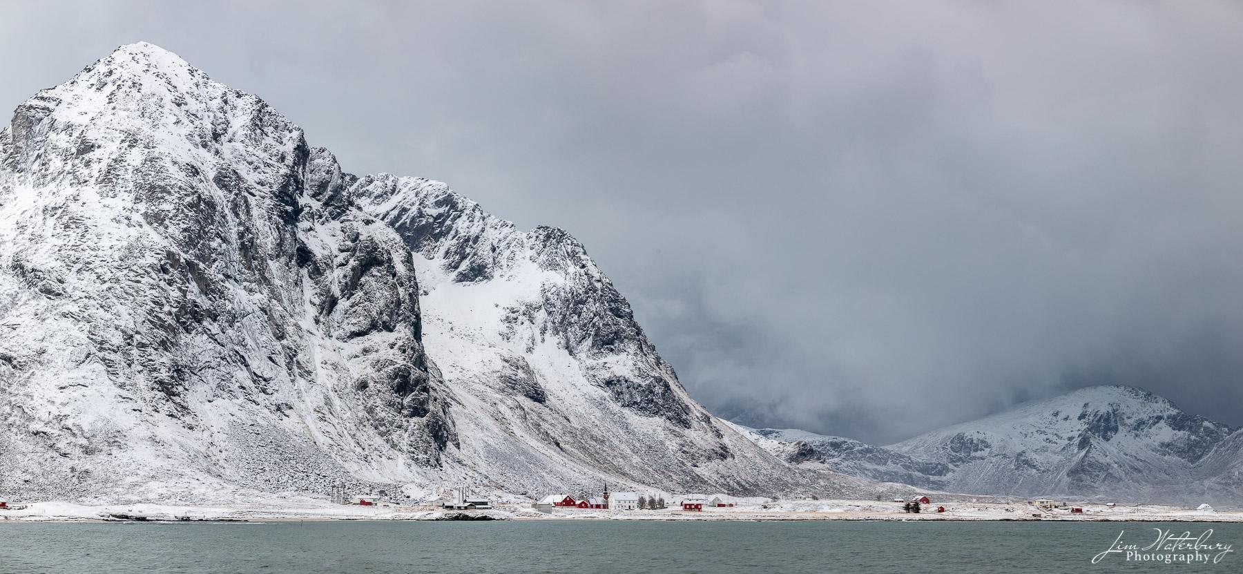 Flakstad, Lofoten, Norway, village, mountains, fjord, winter, photo