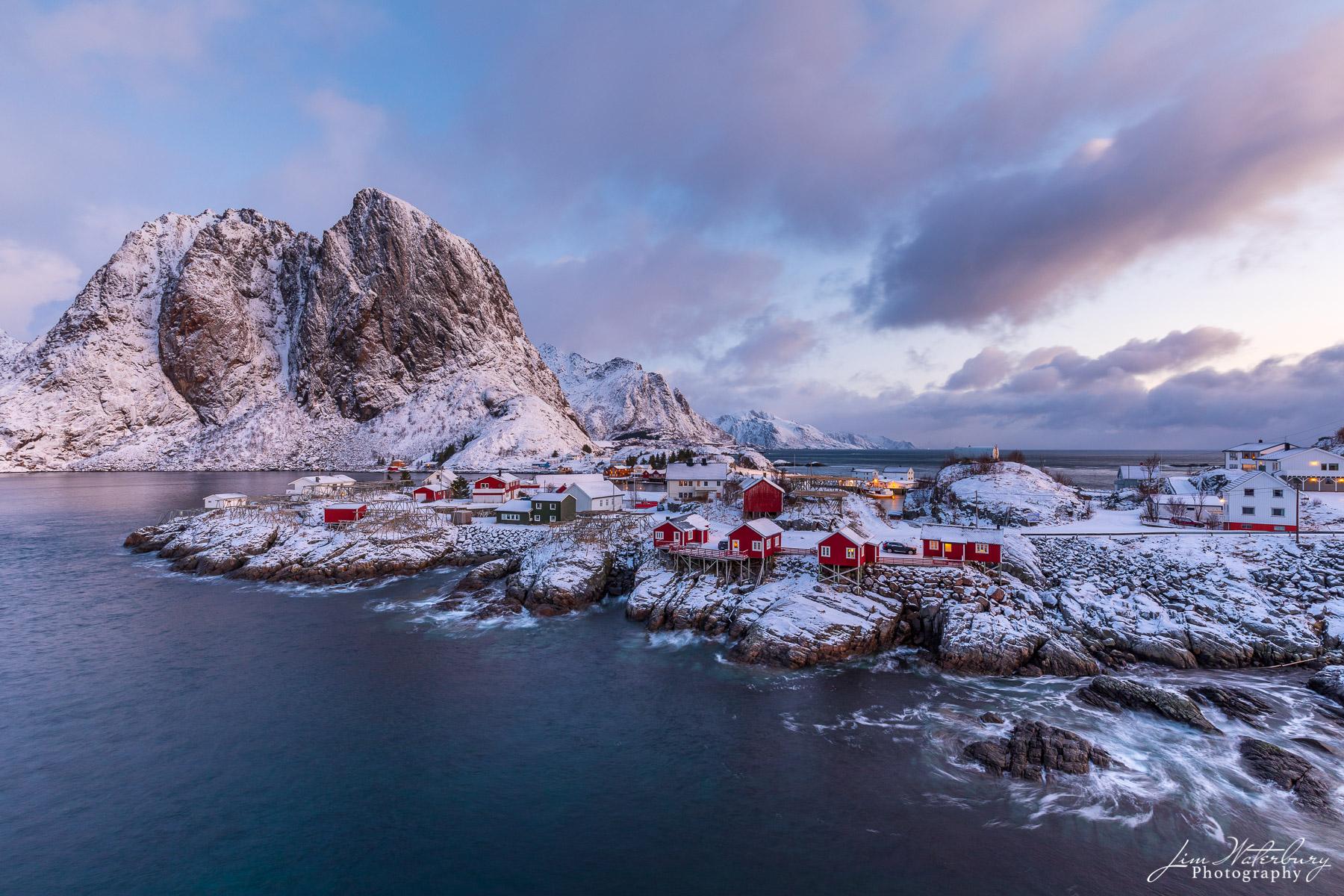 Reine, Lofoten, Norway, fishing cottages, rorbuer, sunrise, winter, photo