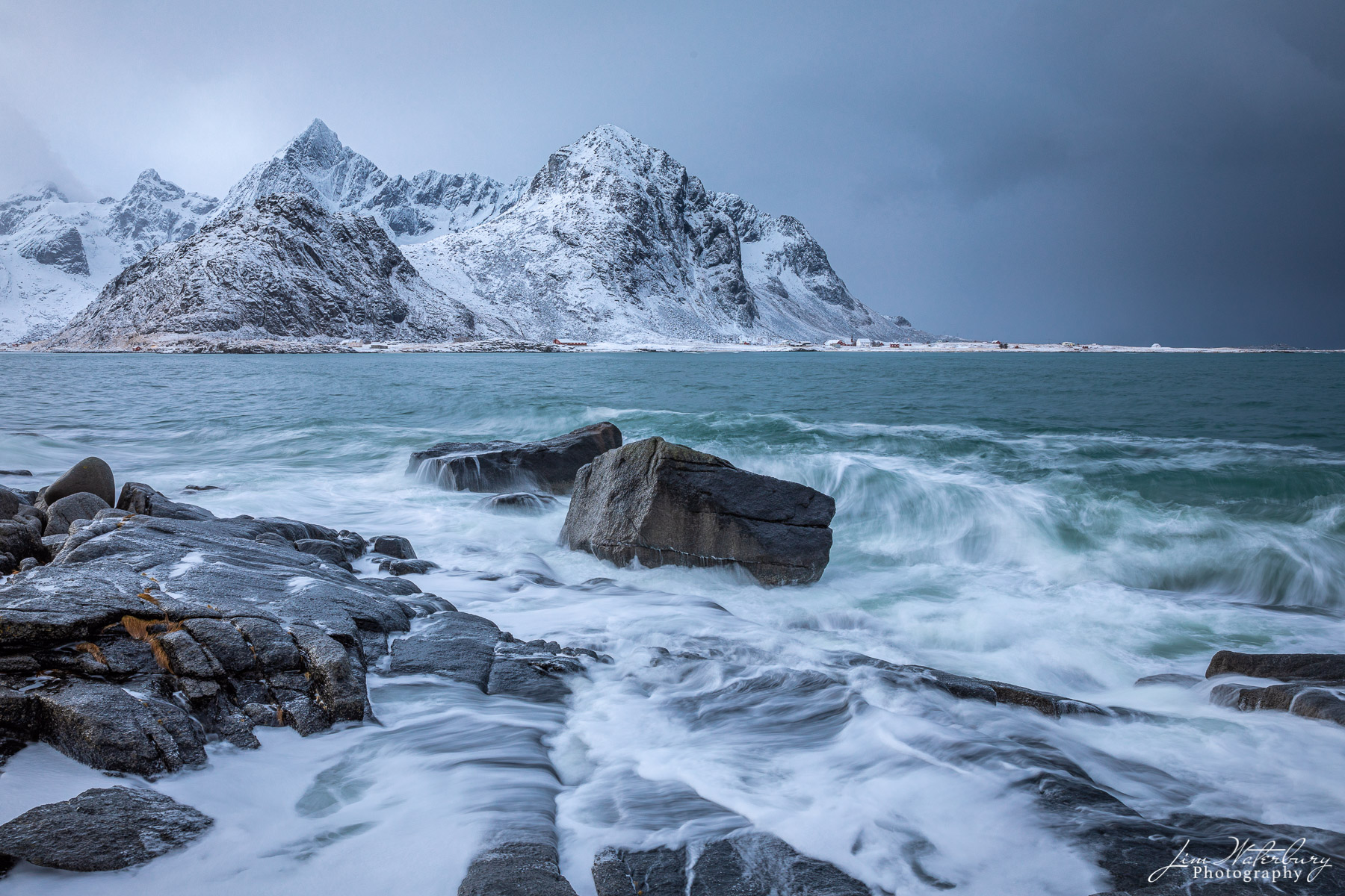seascape, rocks, mountains, surf, winter, snow, Lofoten, Norway, photo
