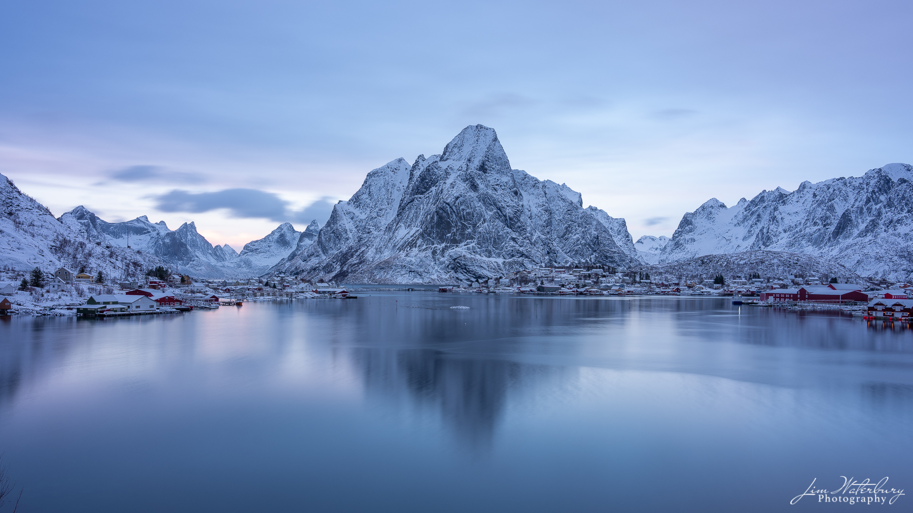 View of the village of Reine on a winter evening in the Lofoten Islands, Norway.