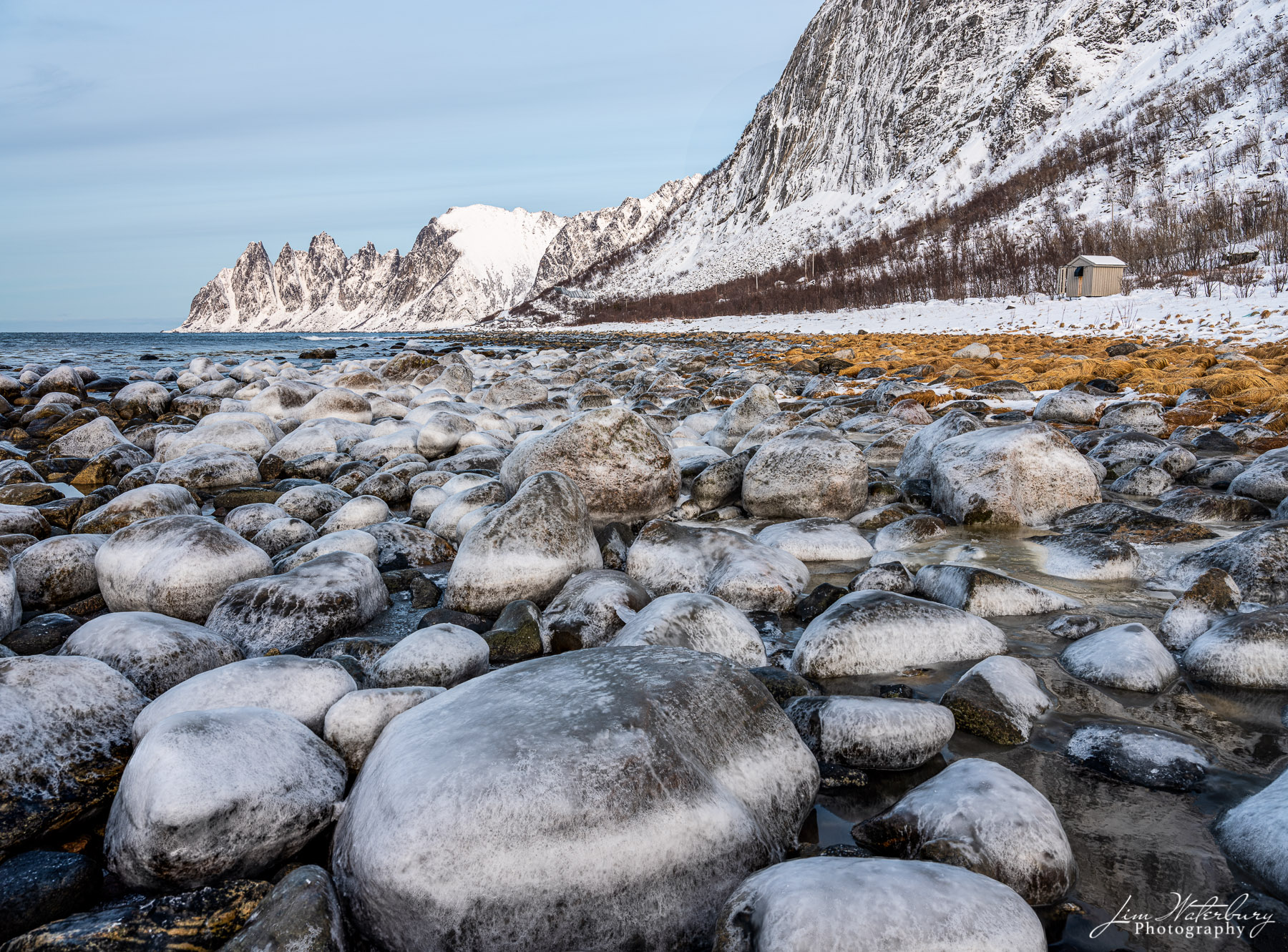 snow, ice, rocks, shore, Senja, Norway, Lofoten, mountains, photo