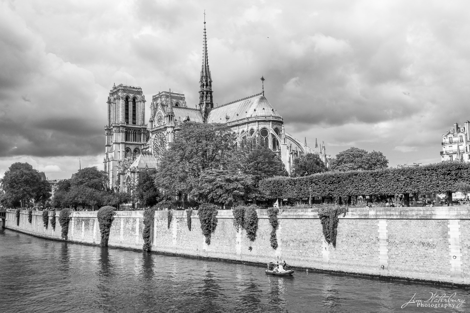 Notre Dame de Paris (Notre Dame Cathedrale) as viewed from across the Seine, before the 2019 fire that destroyed much of the...