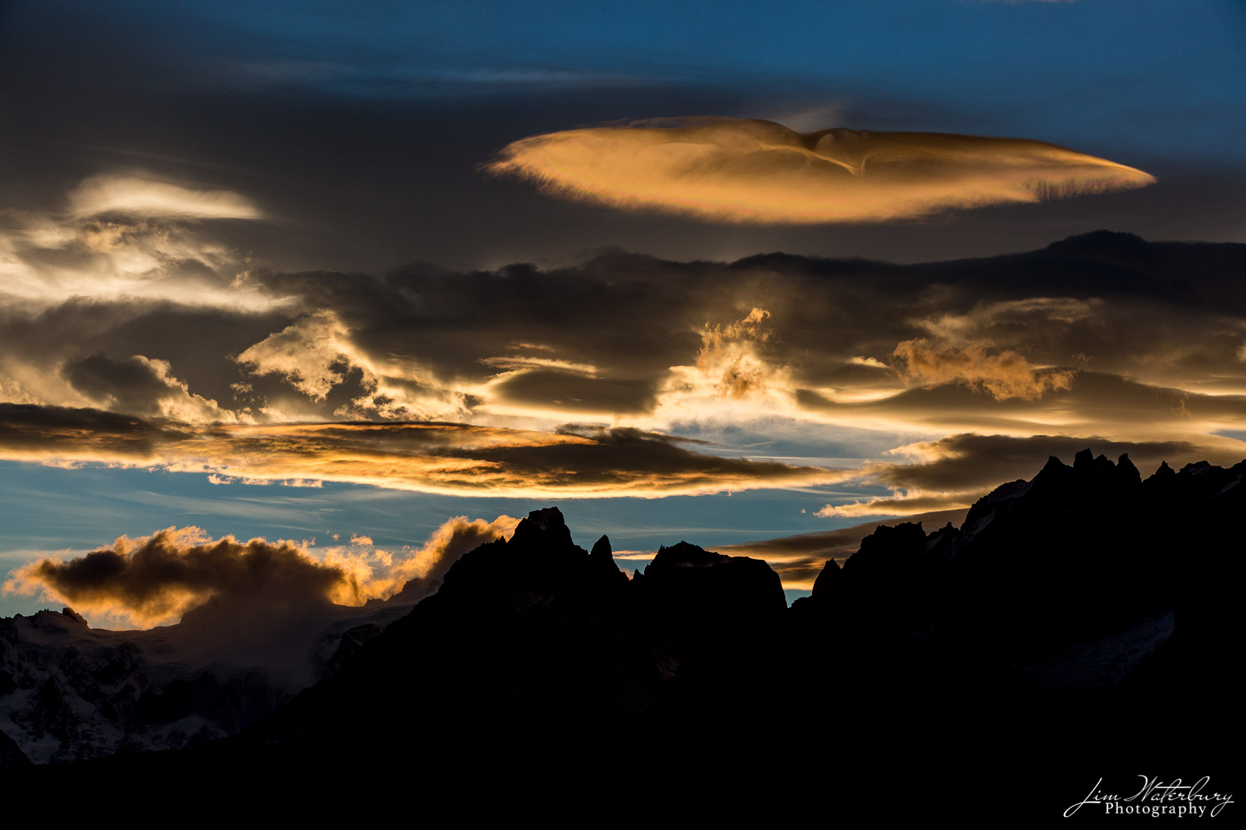 lenticular clouds, sky, mountains, Torres del Paine, Patagonia, photo