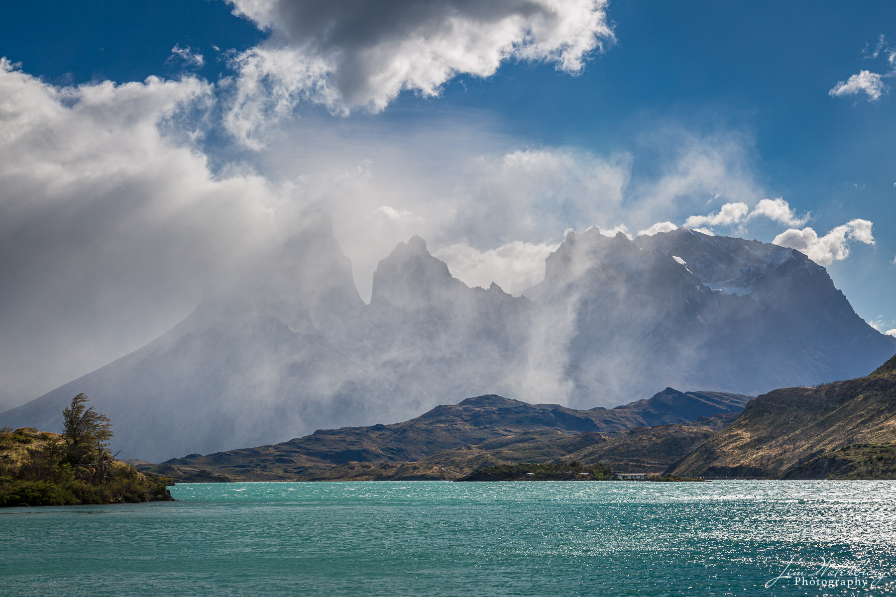 rain, storm, Lake Pehoe, Torres del Paine, Patagonia, photo