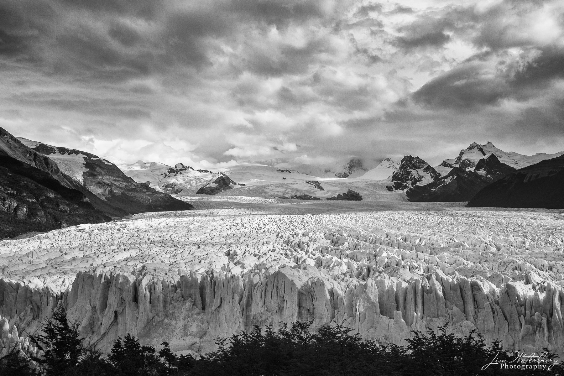 Black & White image looking back from the leading edge of the Perito Moreno Glacier in Los Glaciares National Park in Argentina...