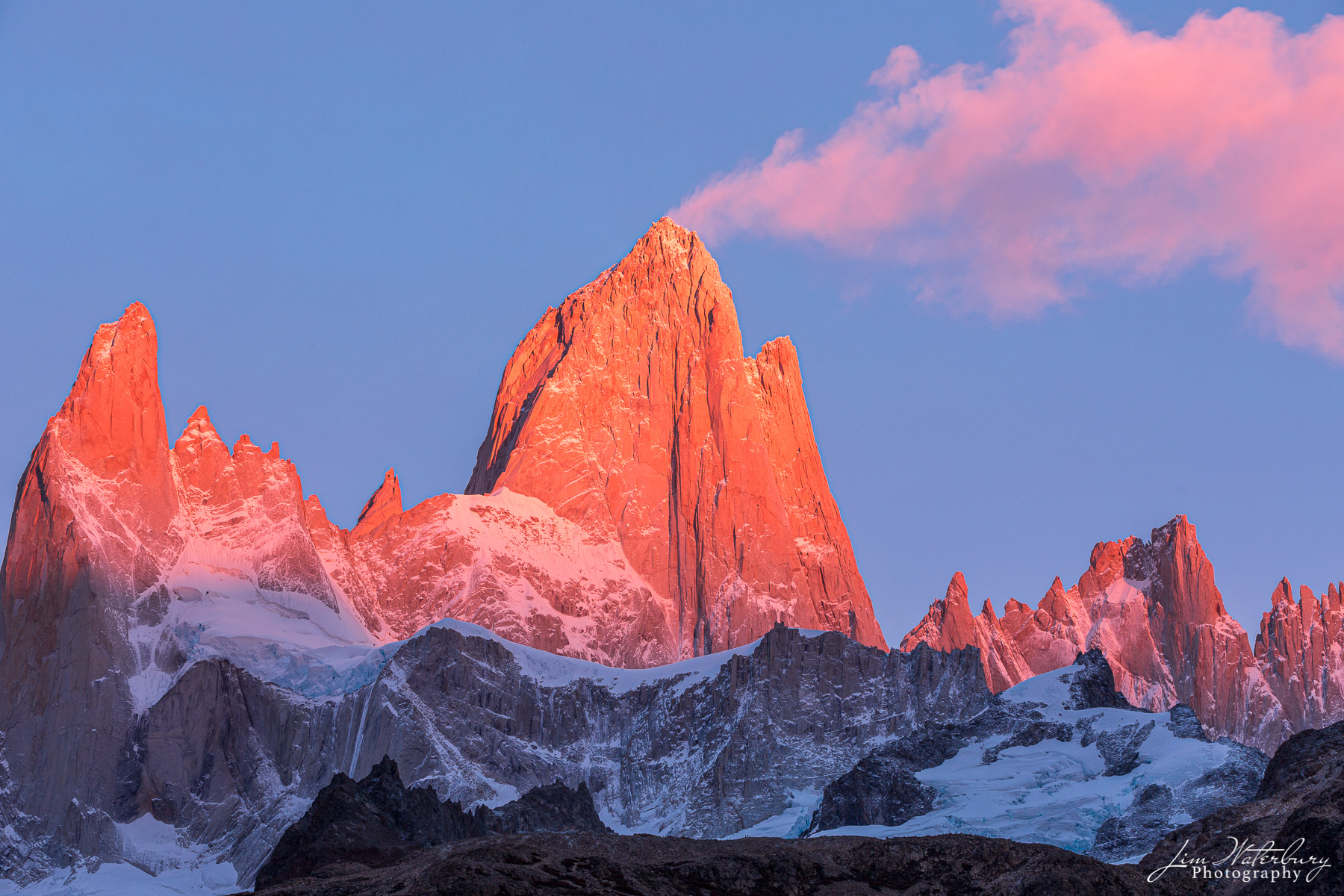 alpenglow, pink, clouds, Fitz Roy, Patagonia, sunrise, plume, photo