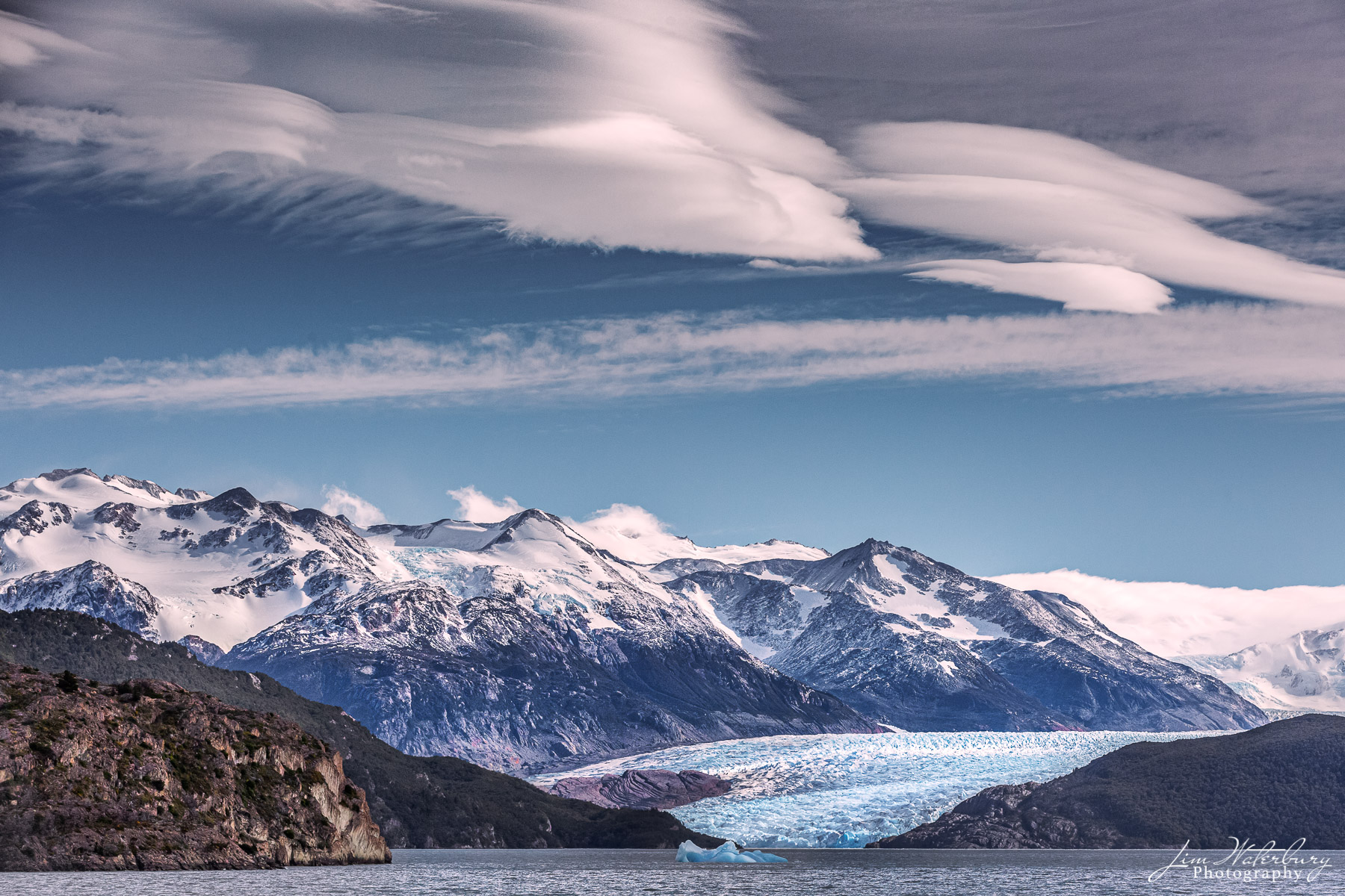 Grey Glacier, Torres del Paine NP, Patagonia, and Grey Lake in the foreground
