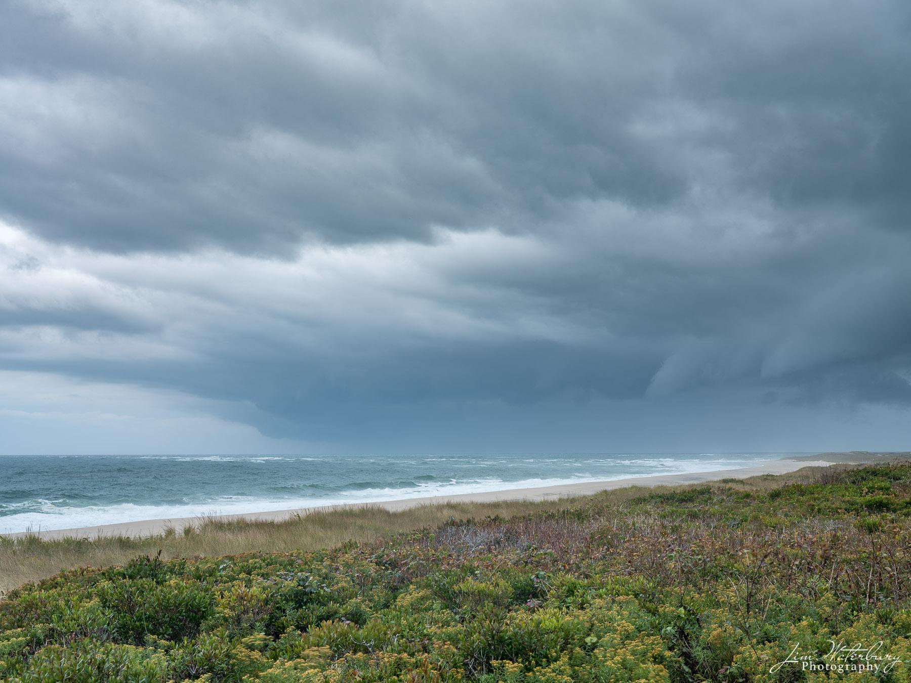 ocean, dunes, storm, clouds, seascape, photo