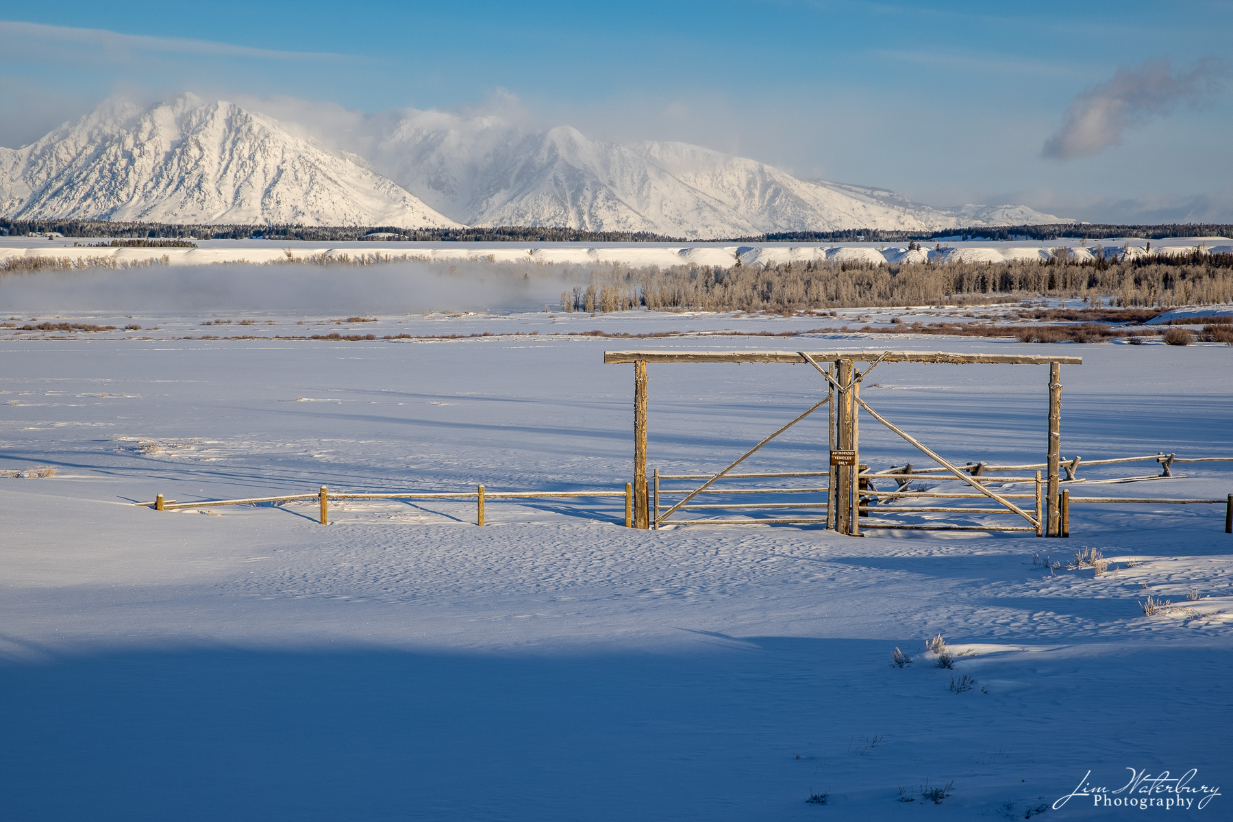 Entrance to the grazing meadows (now covered in snow) of the Triangle X Ranch in Grand Teton National Park