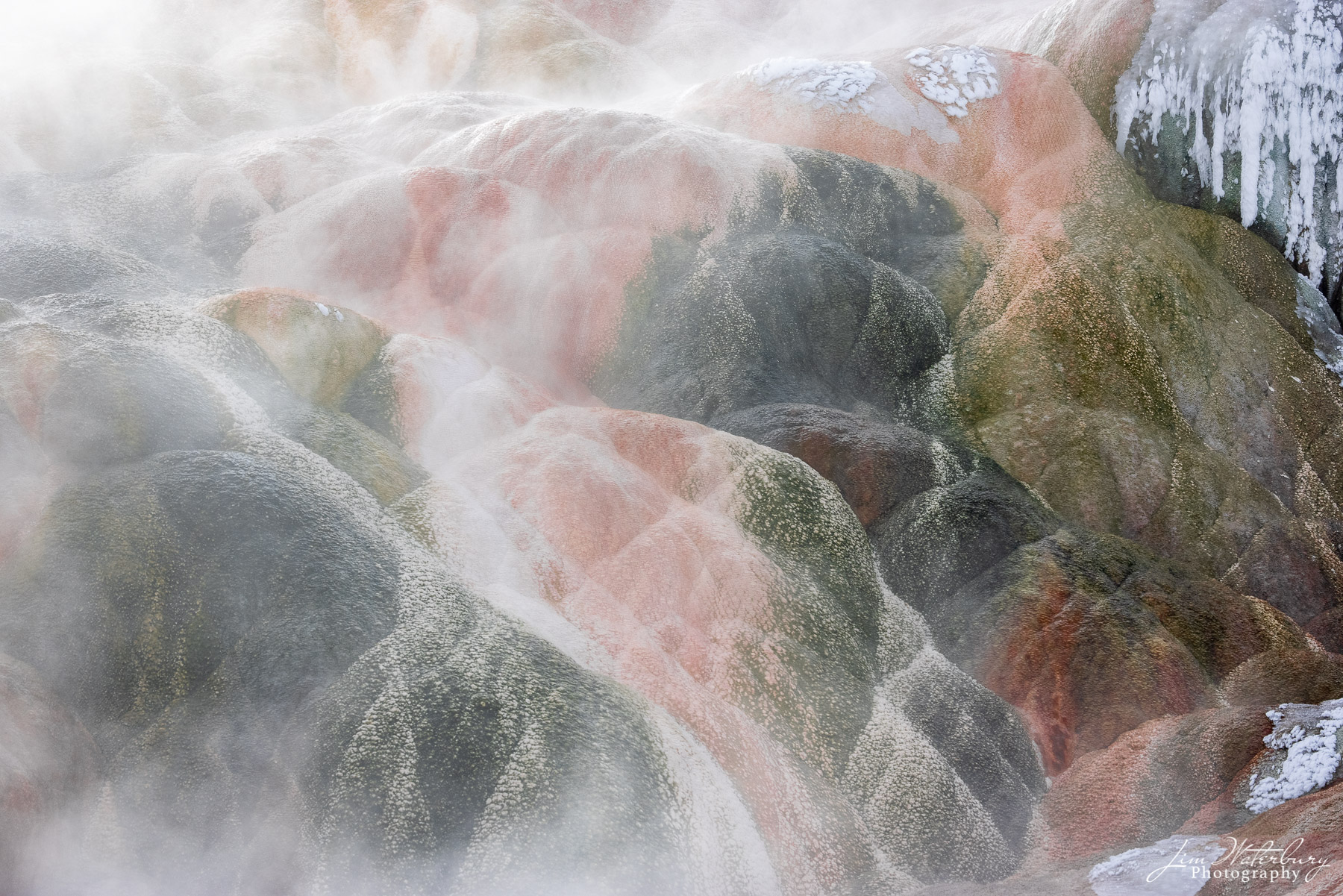 Abstract of colored rocks at Mammoth Hot Springs.