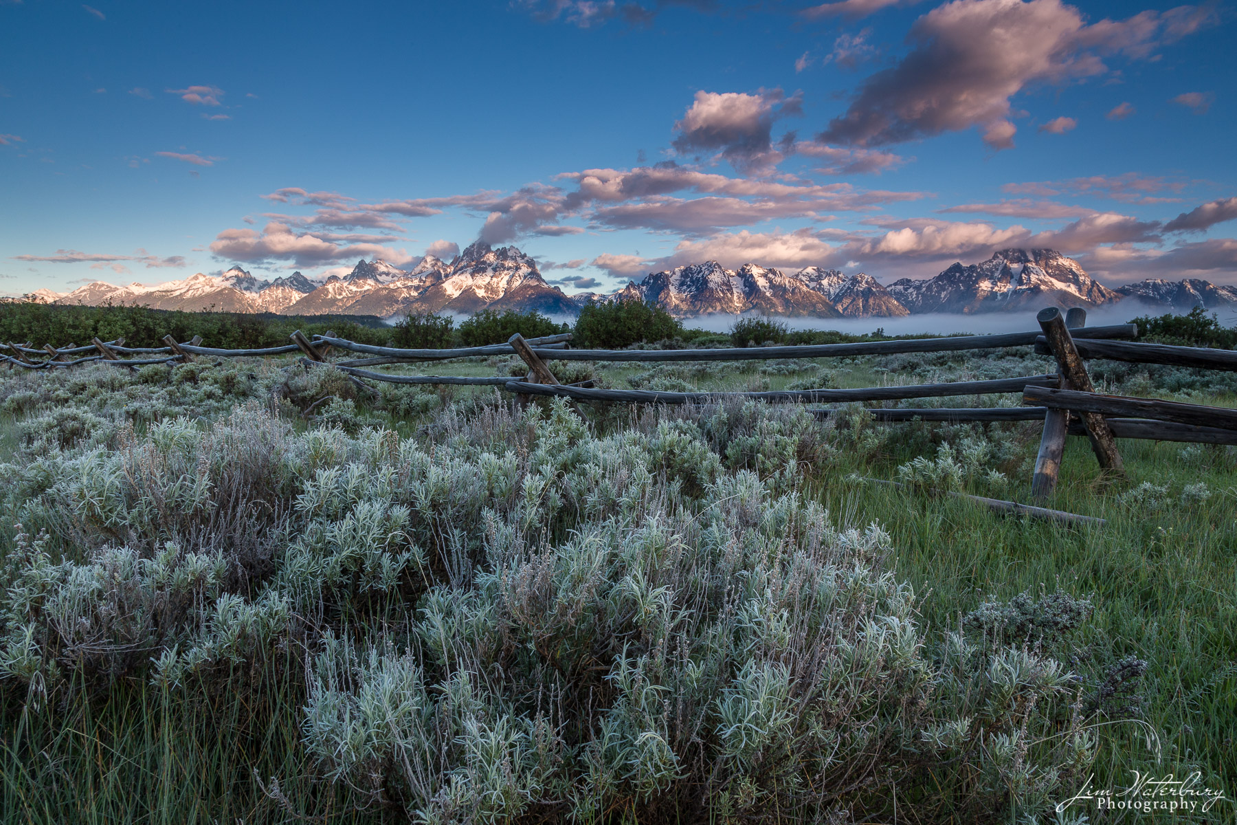Sage brush, fence, and view of the Teton Range in the distance, at sunrise, Teton National Park, opposite the Triangle X Ranch...